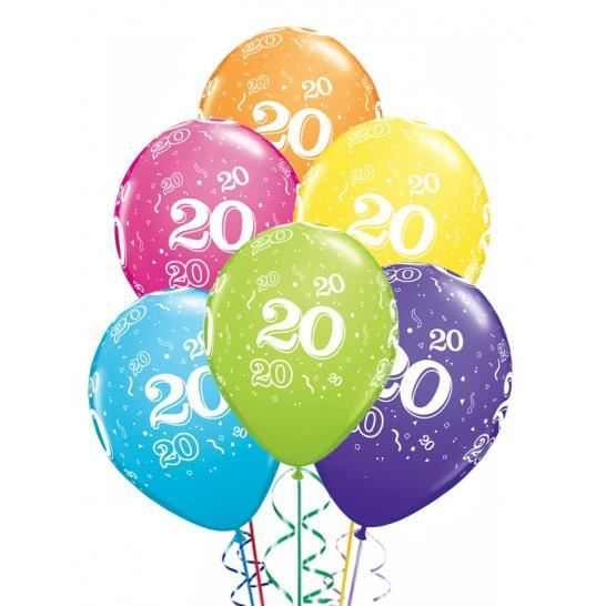 ballons anniversaire 20 ans x6 achat vente ballon d coratif cdiscount. Black Bedroom Furniture Sets. Home Design Ideas