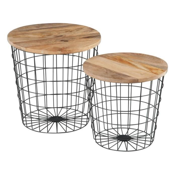 lot de 2 tables gigognes panier m tal noir bisco l 38 x l 30 x h 39 cm achat vente table. Black Bedroom Furniture Sets. Home Design Ideas