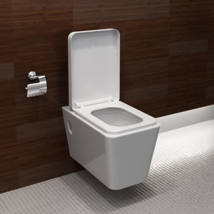 cuvette blache avec abattant design moderne carr achat vente wc toilette bidet cuvette. Black Bedroom Furniture Sets. Home Design Ideas