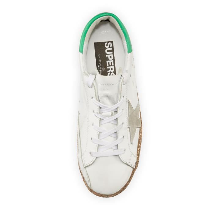 Golden Goose Superstar Sneaker à plateforme pailletée, Blanc / Or