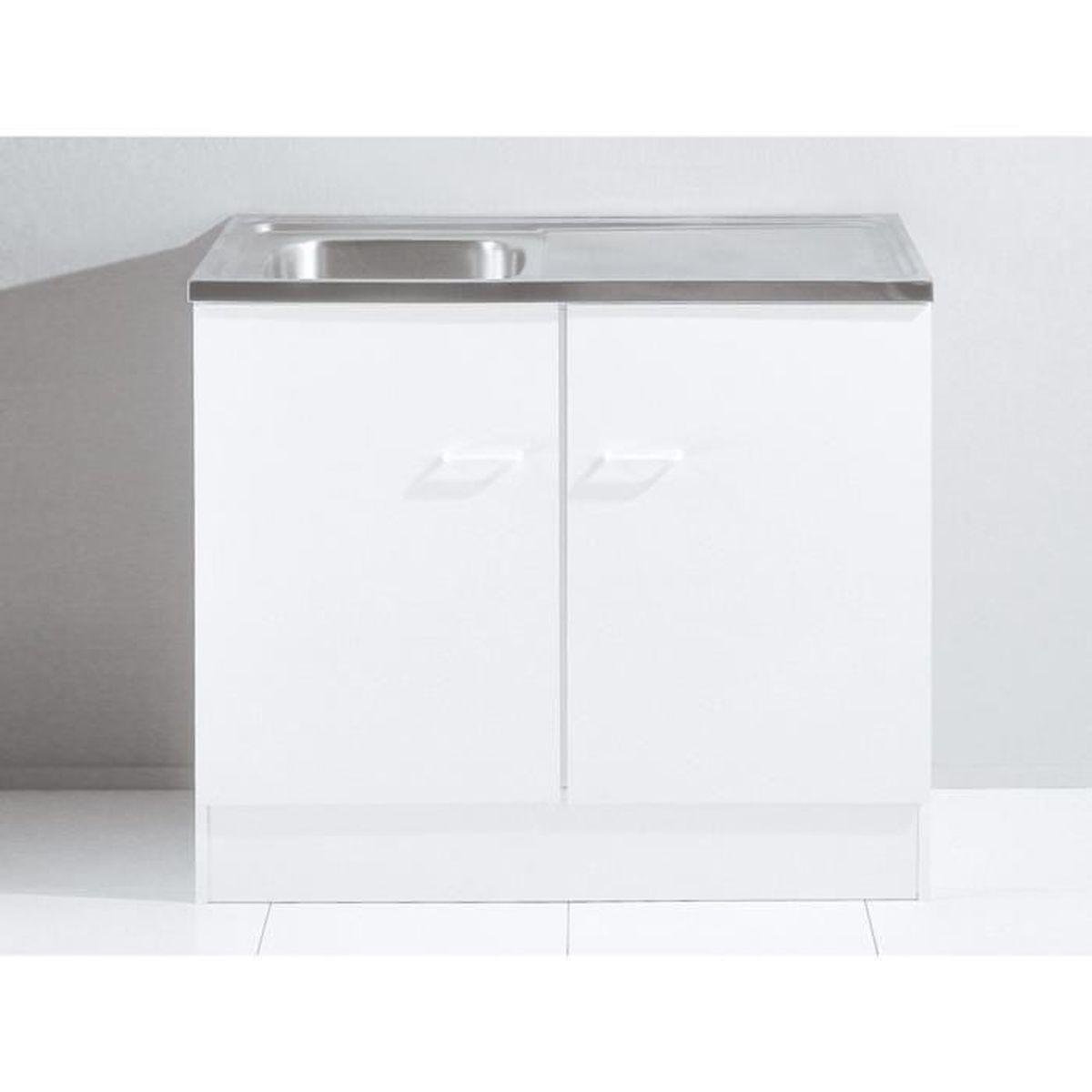 Meuble bas de cuisine Tupi avec évier 12cm Blanc - Achat / Vente