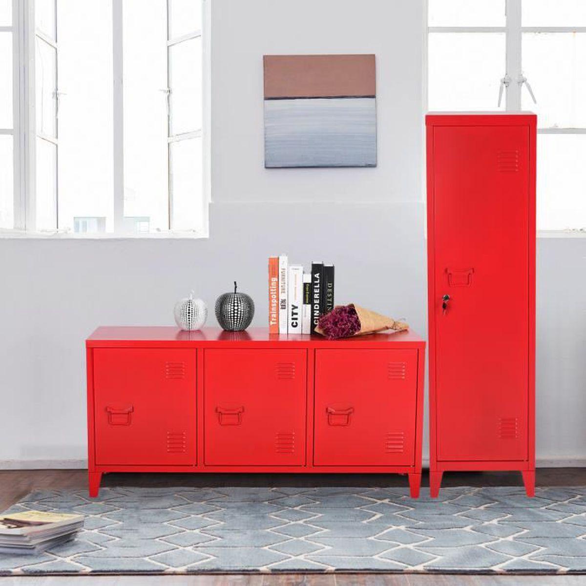 Commode Chambre Style Industriel set de 2 armoires commode de chambre métal industriel