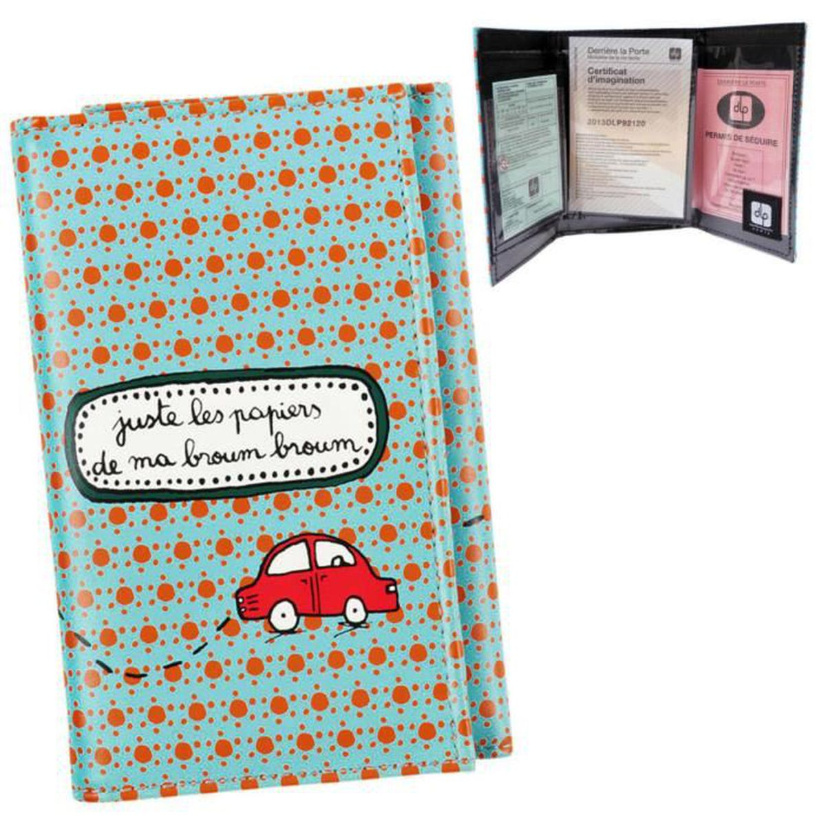 pochette papiers voiture broum permis de conduire carte grise assurance id e cadeau. Black Bedroom Furniture Sets. Home Design Ideas