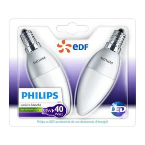 AMPOULE - LED PHILIPS EDF Lot de 2 ampoules LED E14 5,5W équival
