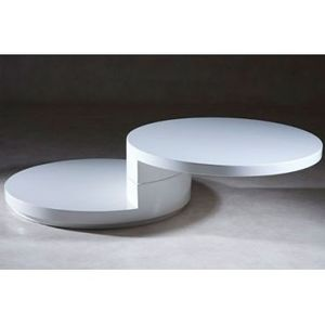 Table Basse Ronde Laque Blanc Slide Achat Vente Table
