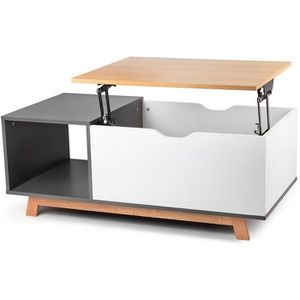 TABLE BASSE Table Basse Salon avec Plateau Relevable + Étagère
