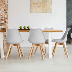 CHAISE Lot de 4 chaises SARA gris clair pour salle à mang