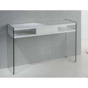 CONSOLE Console MARION design blanc mat piétement en verre