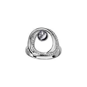 BAGUE - ANNEAU Bague argent rhodié double cercle avec perle grise