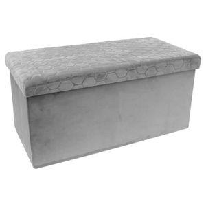 BANC Coffre rangement banc pliable en MDF coloris gris