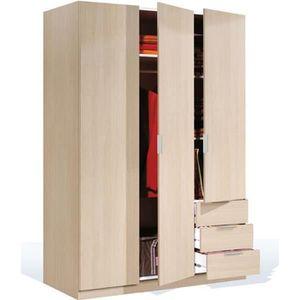 ARMOIRE DE CHAMBRE Armoire avec 3 portes et 3 tiroirs coloris Chêne e
