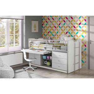 LIT COMBINE  Lit combiné avec bureau blanc 90x200 - Terre de nu