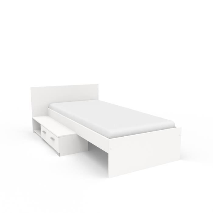Lit et tiroir Galaxy - 120 x 203 x 74 cm - Panneau de particules - Blanc 203 cm