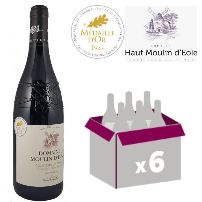 Moulin d'Eole Rouge 2019 x 6 - Médaille Or Paris 2020 - AOC Costières de Nîmes