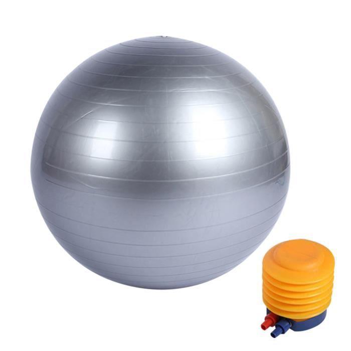 Boule de yoga lisse +pompe à air Boule d'exercice fitness gym de 45 cm gris