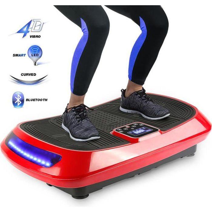 WISS Appareil Fitness 4D Plateforme Vibrante Oscillante Perte de poids avec 2 Cordes de Traction,Haut-parleurs Bluetooth,Indicateur