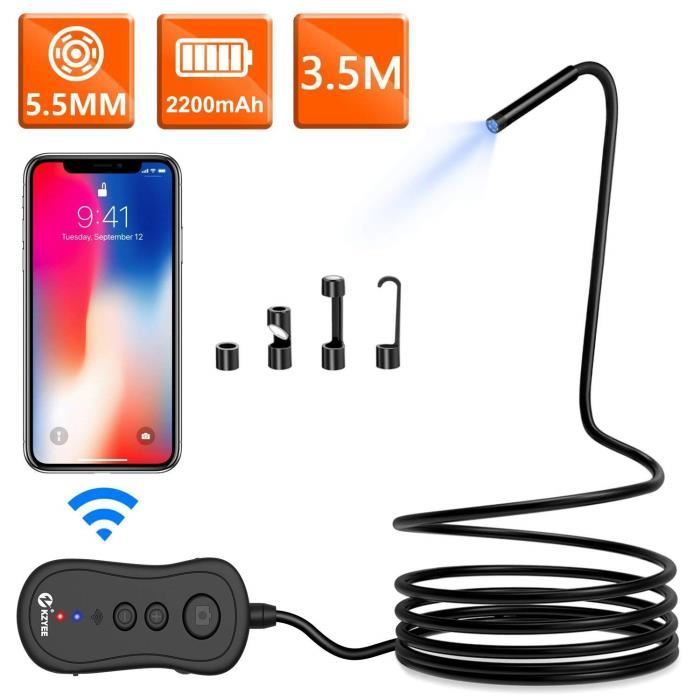 KZYEE 5,5mm WiFi Endoscope 2,0 MP 2200mAh Wireless Snake Caméra d'Inspection 1080P HD Zoom Digital Reset Etanche pour Android iOS