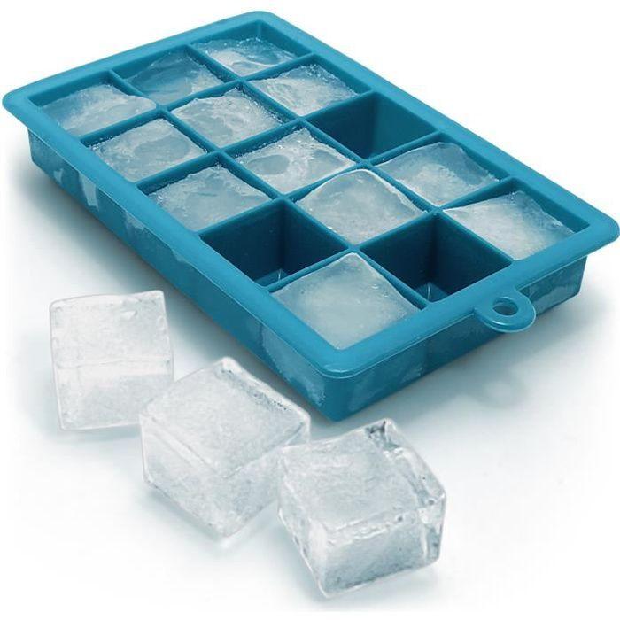 igadgitz Home 1x Bac à Glaçons en Silicone Alimentaire 15 Ice Cubes Pouding Gelée Chocolat