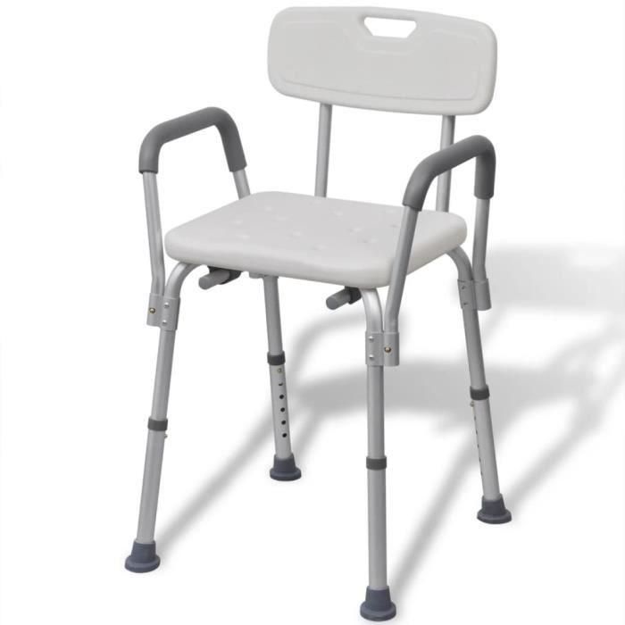 Chaise de douche Tabouret de Douche siège de douche ergonomique 53 x 41,5 x (72-84,5) cm-Style Contemporain scandinave Alumi��5542