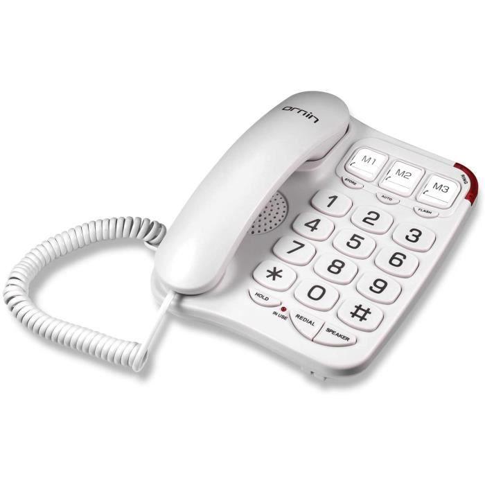 Ornin S016 Big Button téléphone Filaire avec Haut-Parleur, Compatible avec Une Aide auditive pour Les Personnes âgées