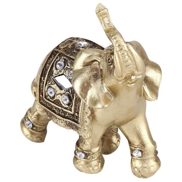 Sonew ornement d'éléphant Or Couleur Élégant Éléphant Statue Ornement Figurine Décor De Bureau À Domicile Cadeau (S)