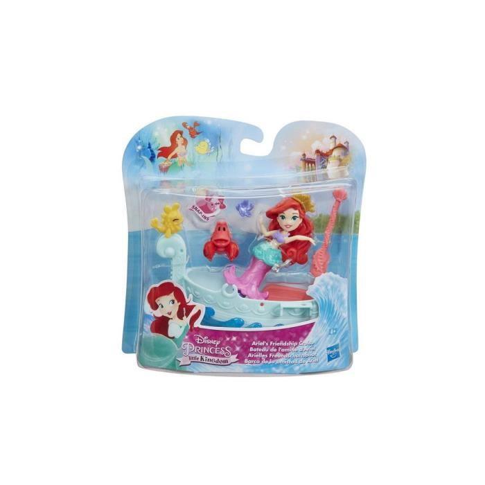 Mini Princesse : Ariel La Petite Sirene Avec Le Crabe Sebastien Et Son Bateau - Poupee Disney Princesse