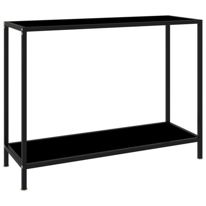 FAS Table console Noir 100x35x75 cm Verre trempé-N°1494