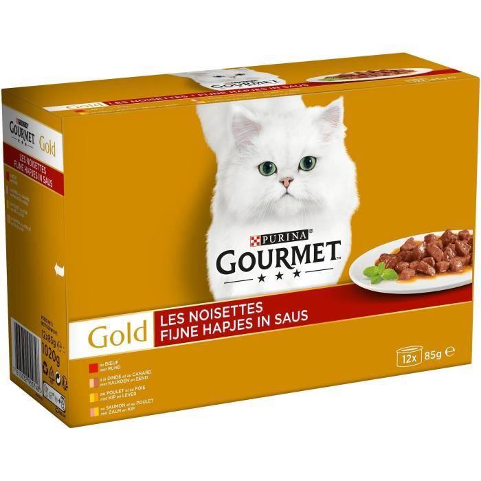 GOURMET Gold Les noisettes - Boîtes - Pour chat adulte - 12 x 85 g
