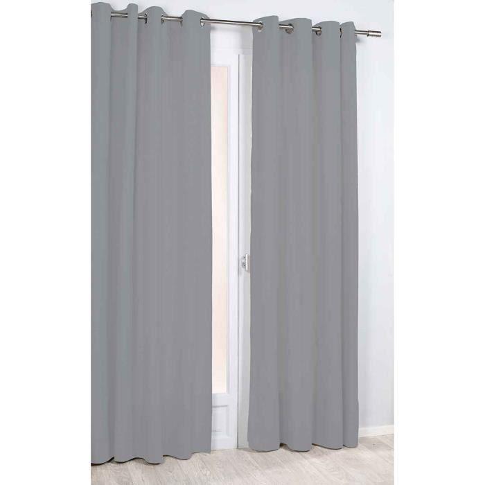 Rideau Phonique et Thermique Uni Gris 140 x 260 cm