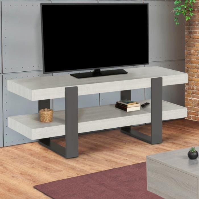 Meuble TV double plateau PHOENIX bois gris