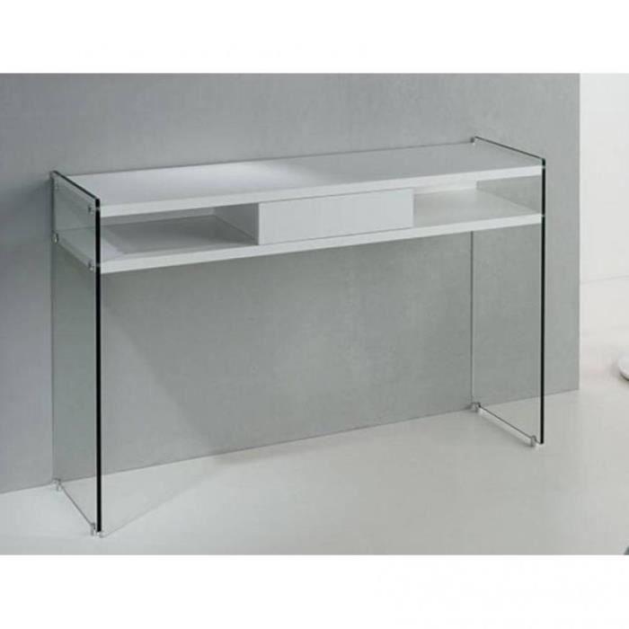 Console avec tiroir MARION design blanc mat piétement en verre blanc Bois Inside75