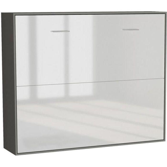 Armoire lit horizontale escamotable STRADA-V2 structure gris graphite mat façade blanc brillant couchage 140*200 cm. bi color bois
