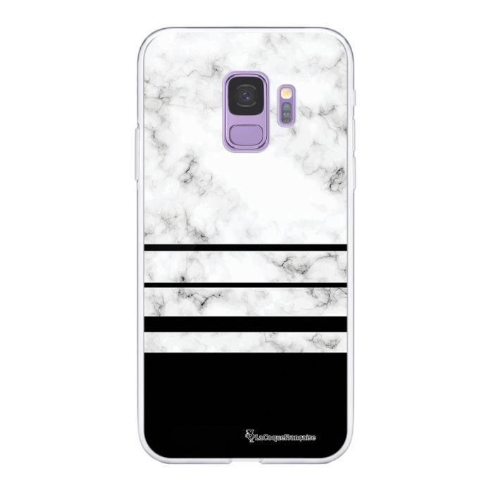 Coque Samsung Galaxy S9 360 intégrale transparente Trio marbre Blanc Ecriture Tendance Design La Coque Francaise
