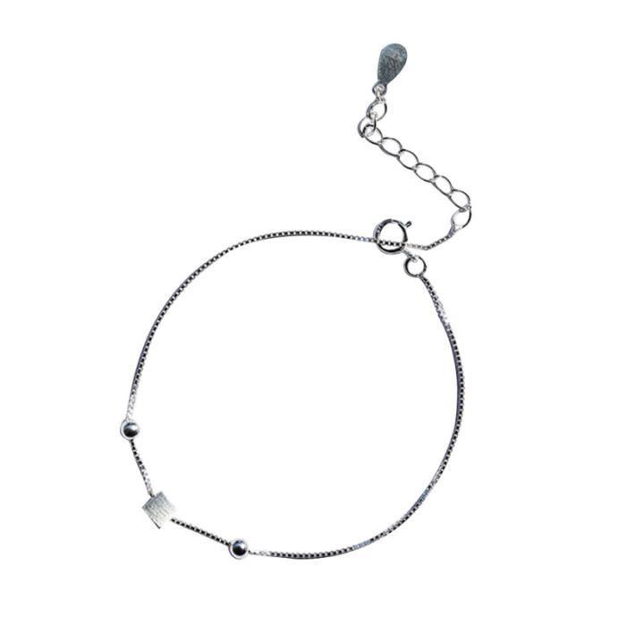 Brushed Silver Square Bracelet Fashion Stylish Elegant Charm Jewelry for Women MONTRE CONNECTEE SPORT
