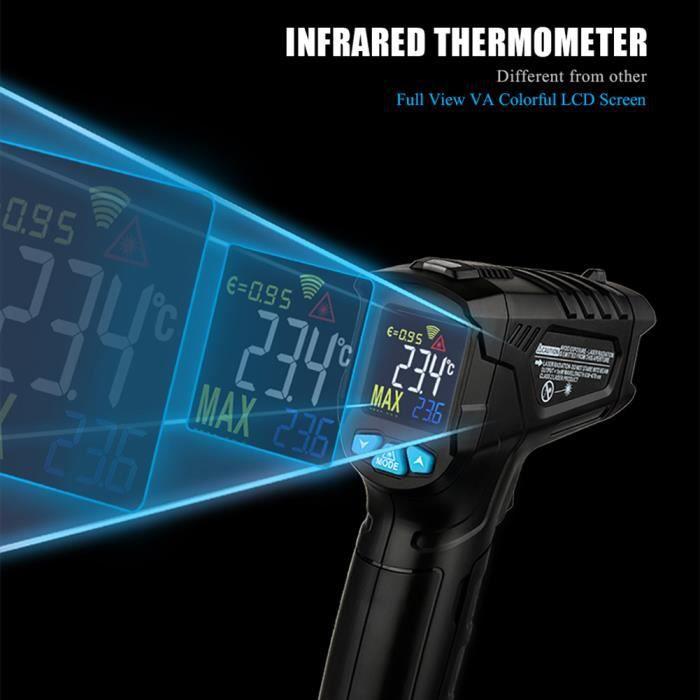 Le thermomètre infrarouge à cristaux liquides affiche un nouveau thermomètre numérique sans contact pour la cuisson domestique à l'i