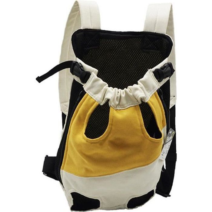 Voyage de compagnie sac à dos chien transporteur extérieur portable sac porte-animal sac respirant jaune blanc m