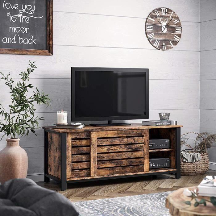 VASAGLE Meuble TV, Buffet Bas, table basse, Portes coulissantes et 2 étagères, Cadre en Fer, 110 x 40 x 45 cm, Vintage LTV41BX