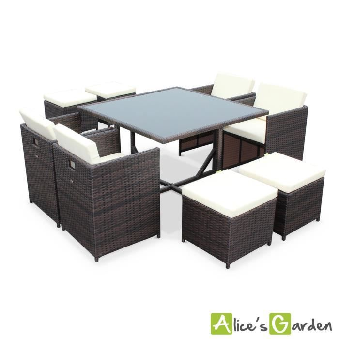 salon de jardin vasto chocolat table en r sine tress e 4. Black Bedroom Furniture Sets. Home Design Ideas