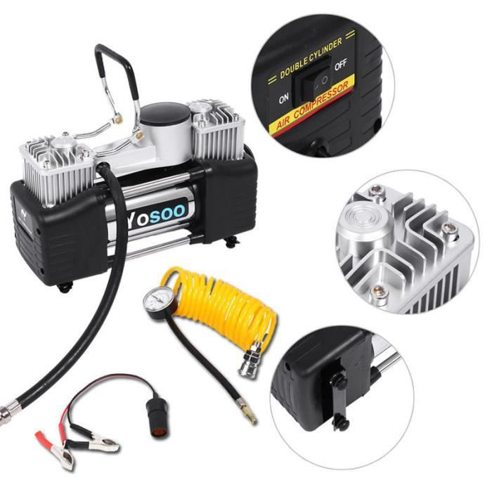 COMPRESSEUR 12V 60L-min Pompe à air compresseur d'air de pneu gonf