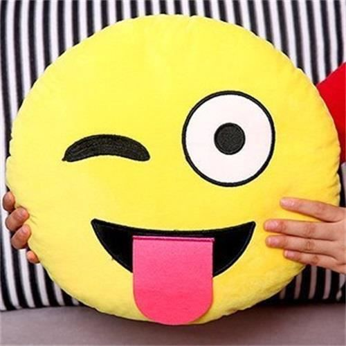 emoji emoticone smiley jaune ronde coussin achat vente jeux et jouets pas chers. Black Bedroom Furniture Sets. Home Design Ideas