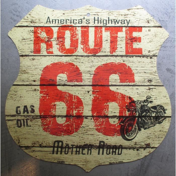 plaque publicitaire route 66 imitation bois moto blaso en metal achat vente objet d coration. Black Bedroom Furniture Sets. Home Design Ideas