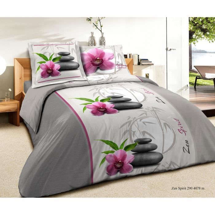 parure lit 4 pieces zen lotus 100 coton 57 fils cm2 top. Black Bedroom Furniture Sets. Home Design Ideas