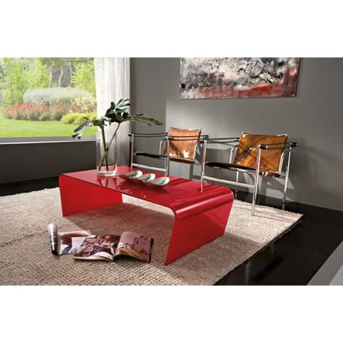 Table basse verre rouge camille 110cm meuble house achat vent - Table basse rouge pas cher ...