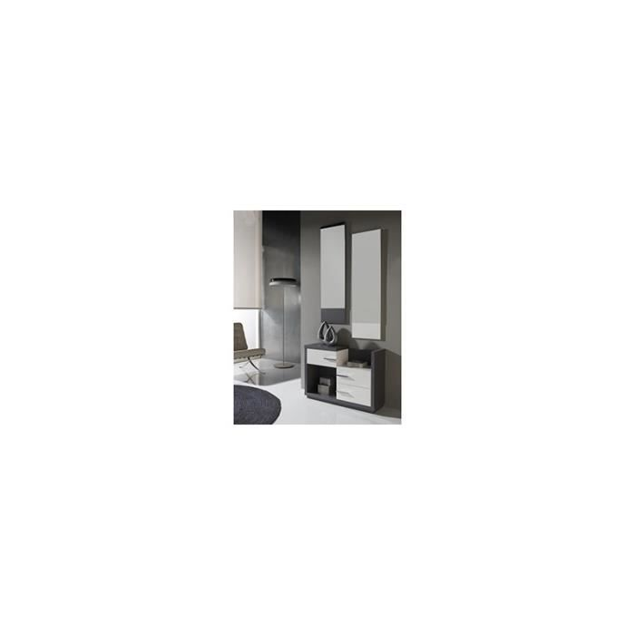 meuble d 39 entr e moderne gris et blanc avec miroirs graphy blanc et grisblanc achat vente. Black Bedroom Furniture Sets. Home Design Ideas