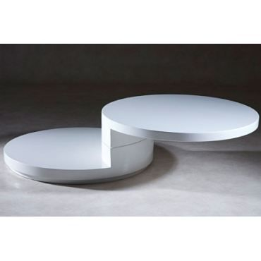table basse ronde laqu blanc slide achat vente table. Black Bedroom Furniture Sets. Home Design Ideas