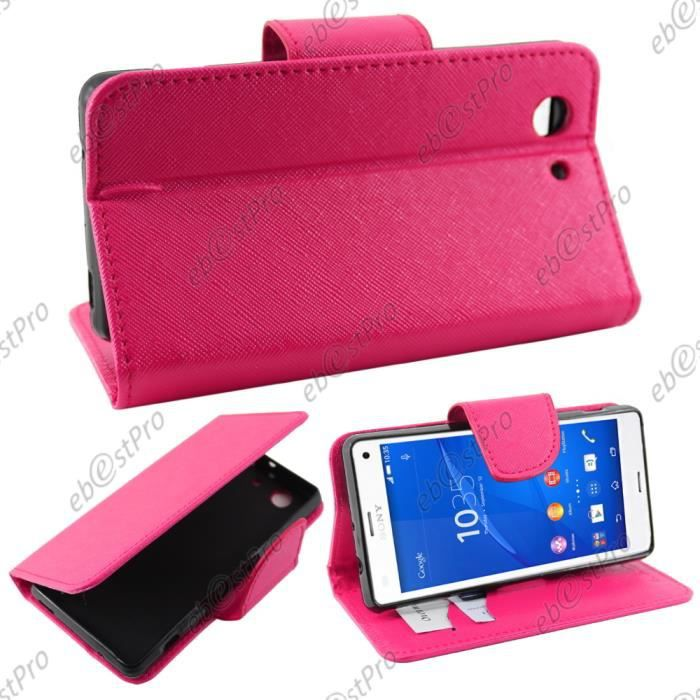 Ebeststar housse portefeuille rose sony xperia z3 compact for Housse xperia z3