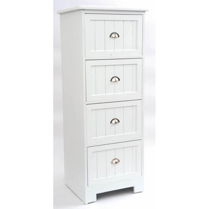 meuble bas bois 4 tiroirs blanc achat vente meuble bas commode sdb meuble bas bois 4 tiroirs. Black Bedroom Furniture Sets. Home Design Ideas
