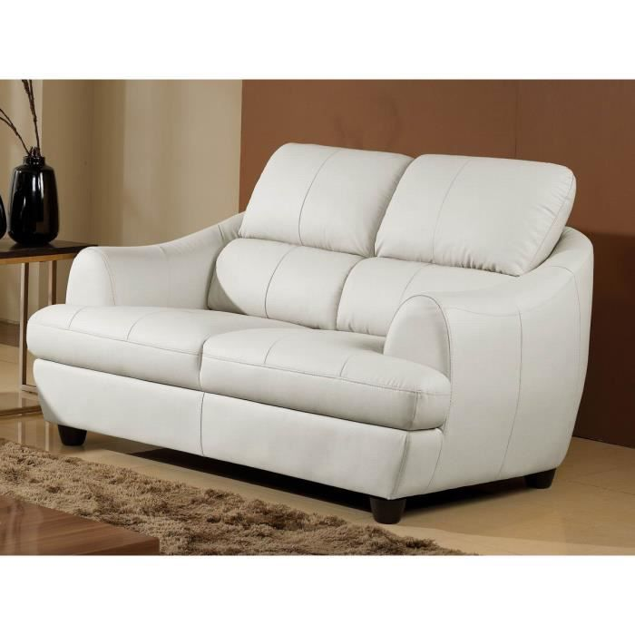 Canap 2 places luxe mona cuir blanc design achat vente canap sofa divan cdiscount - Canape cuir luxe ...