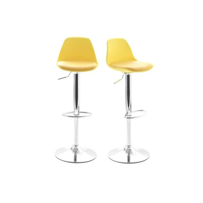 lot de 2 tabourets de bar design jaunes steevy achat vente tabouret de bar cdiscount. Black Bedroom Furniture Sets. Home Design Ideas