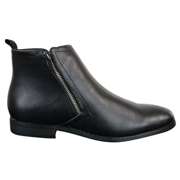 homme style cuir chic décontractées Bottines Chelsea et IYbgfyv76